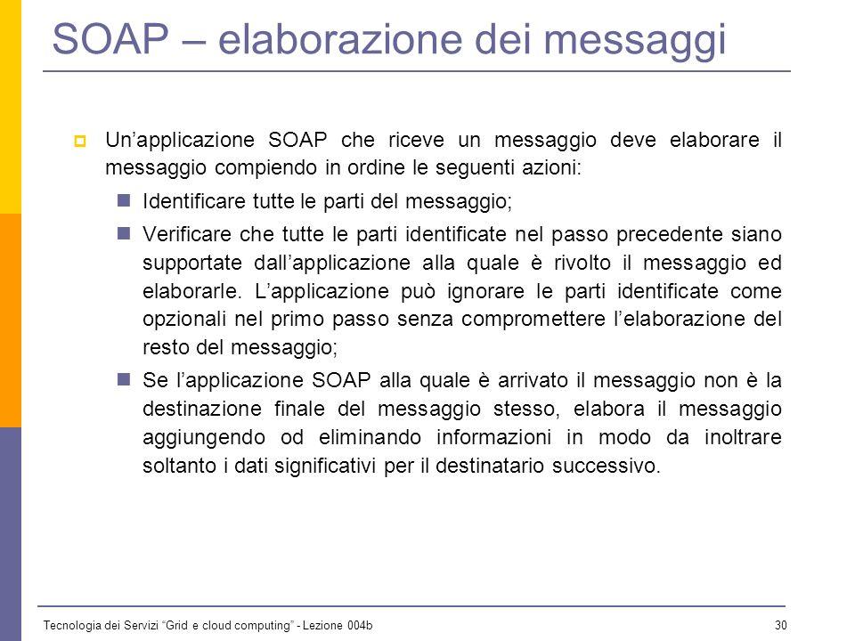 Tecnologia dei Servizi Grid e cloud computing - Lezione 004b 29 SOAP e protocolli di trasporto SOAP abilita una connessione application-to-application