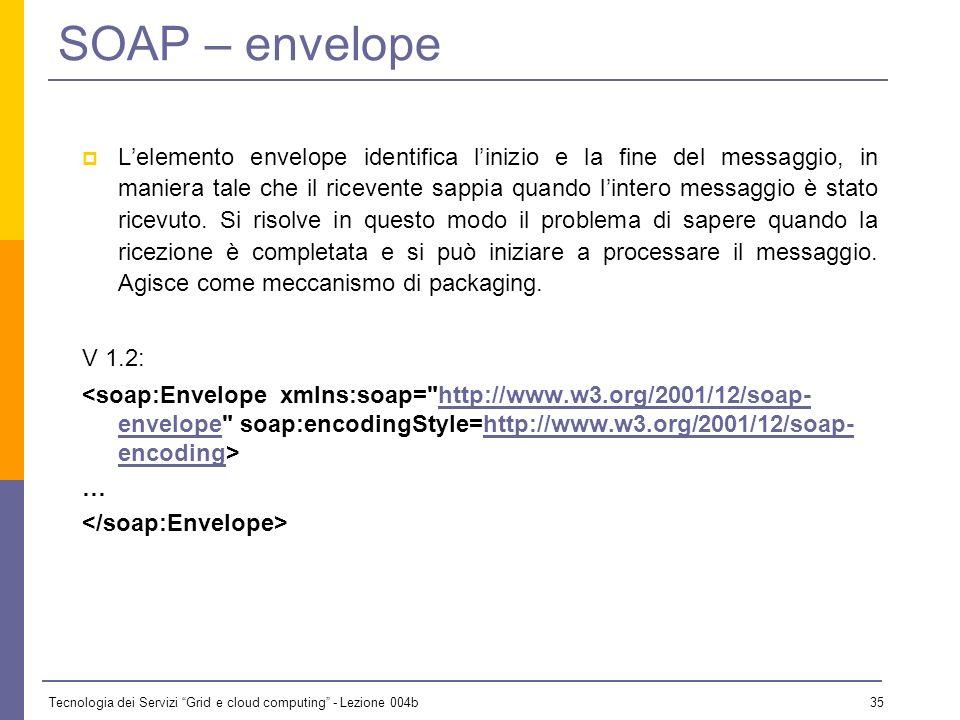 Tecnologia dei Servizi Grid e cloud computing - Lezione 004b 34 SOAP – formato dei messaggi <soap:Envelope xmlns:soap=