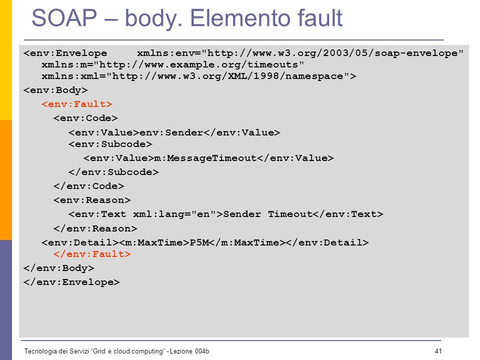 Tecnologia dei Servizi Grid e cloud computing - Lezione 004b 40 SOAP – body. Elemento fault Sono definiti cinque sottoelementi per lelemento Fault : e