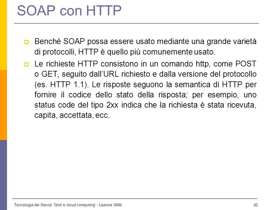 Tecnologia dei Servizi Grid e cloud computing - Lezione 004b 41 SOAP – body. Elemento fault env:Sender m:MessageTimeout Sender Timeout P5M