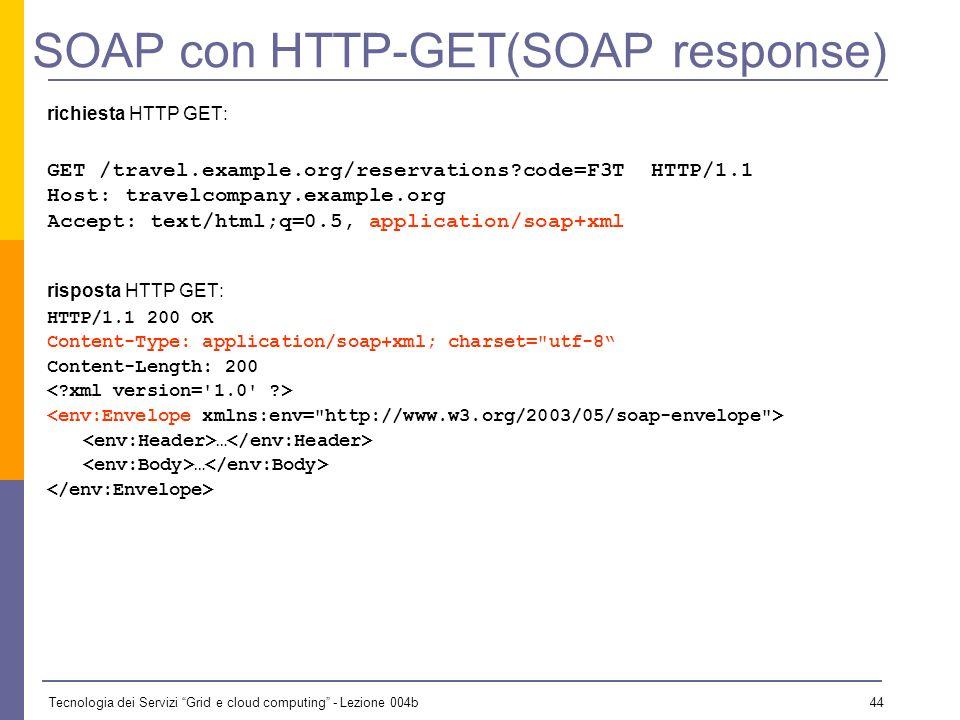 Tecnologia dei Servizi Grid e cloud computing - Lezione 004b 43 SOAP con HTTP Esistono 2 modelli per lo scambio di messaggi SOAP via HTTP: il modello