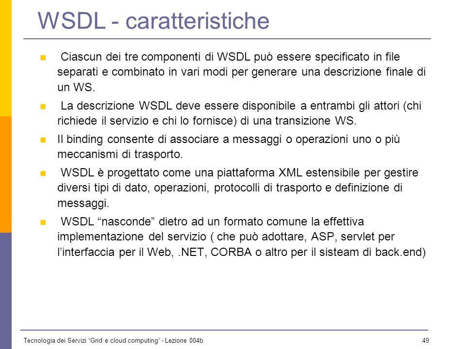Tecnologia dei Servizi Grid e cloud computing - Lezione 004b 48 WSDL è stato sviluppato originariamente da Microsoft e IBM e sottomesso allapprovazion