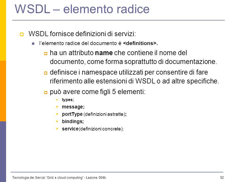 Tecnologia dei Servizi Grid e cloud computing - Lezione 004b 51 WSDL – uso di tipi e messaggi n La definizione dei tipi in WSDL è basata su XML Schema