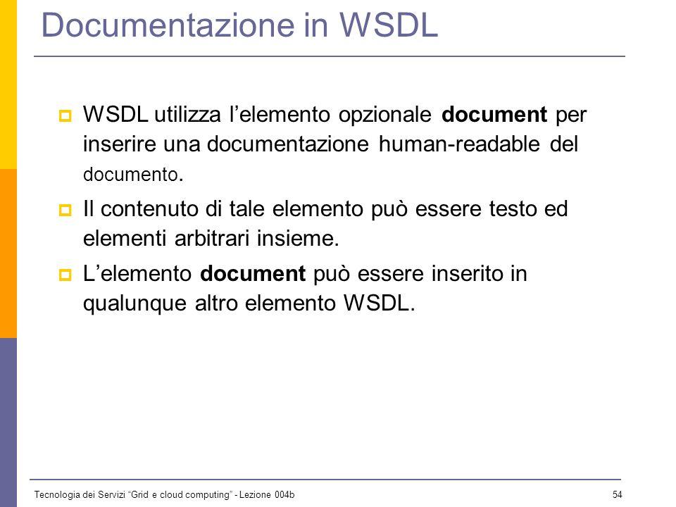 Tecnologia dei Servizi Grid e cloud computing - Lezione 004b 53 Elementi principali di WSDL Un documento WSDL utilizza i seguenti elementi per descriv