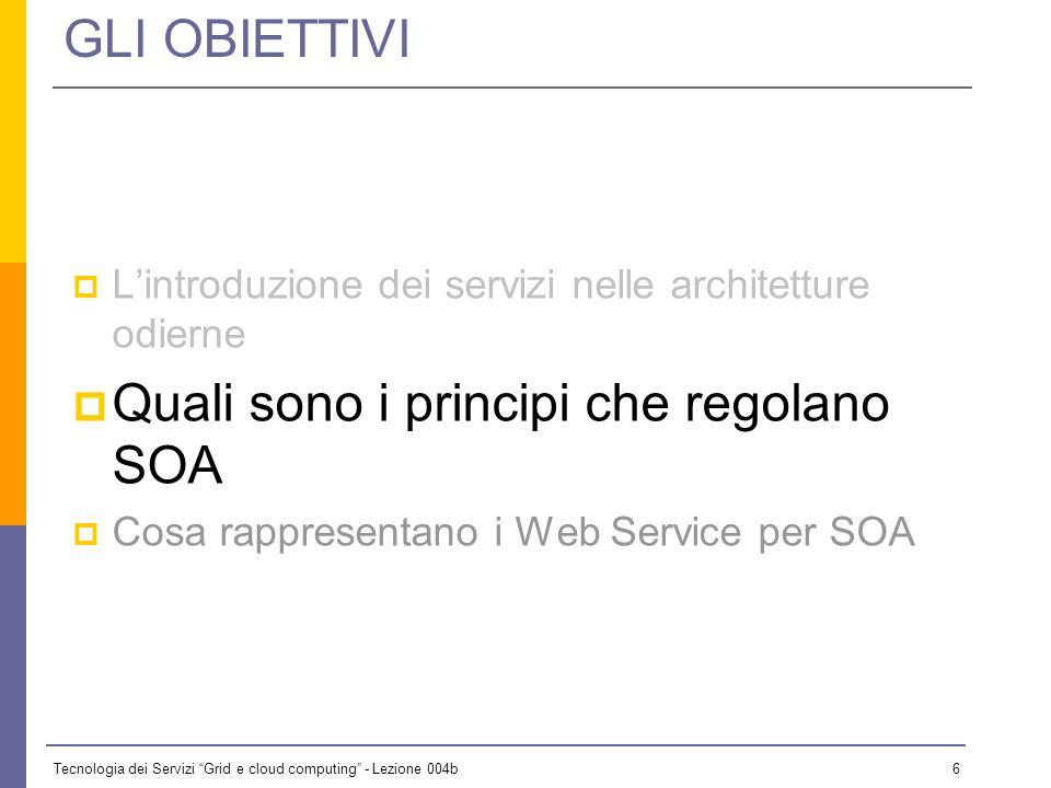 Tecnologia dei Servizi Grid e cloud computing - Lezione 004b 5 …perché SOA Lidea fondamentale è che nelle architetture a servizi il patrimonio informa