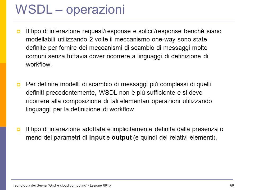 Tecnologia dei Servizi Grid e cloud computing - Lezione 004b 59 WSDL – operazioni Definiti i formati di scambio, si passa a definire le operazioni che