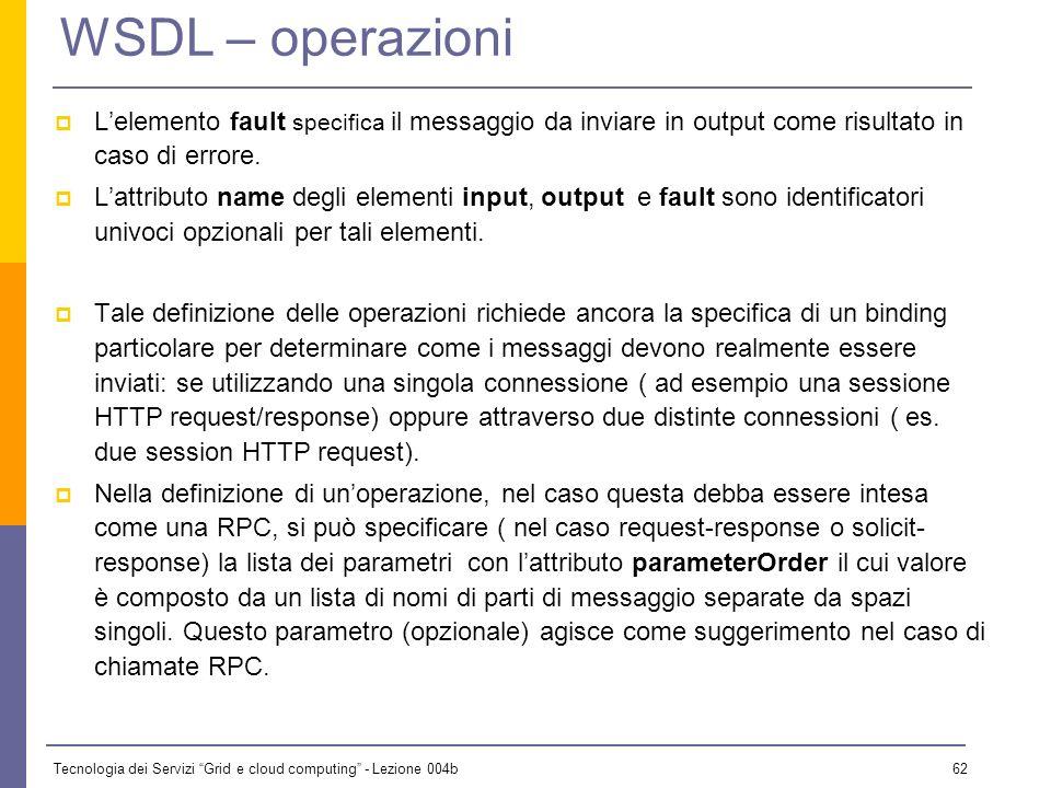 Tecnologia dei Servizi Grid e cloud computing - Lezione 004b 61 WSDL – operazioni La definizione delle operazioni deve specificare i messaggi che devo
