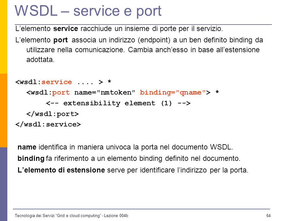 Tecnologia dei Servizi Grid e cloud computing - Lezione 004b 63 WSDL – binding Il binding fornisce i dettagli sul protocollo da usare per le operazion