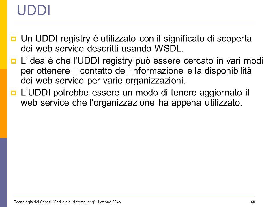 Tecnologia dei Servizi Grid e cloud computing - Lezione 004b 67 Riferimenti SOAP: http://www.w3.org/2000/xp/Group/http://www.w3.org/2000/xp/Group/ WSD