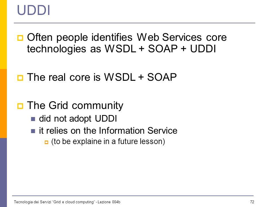 Tecnologia dei Servizi Grid e cloud computing - Lezione 004b 71 UDDI Accepts and organizes three types of information into three broad categories: Whi