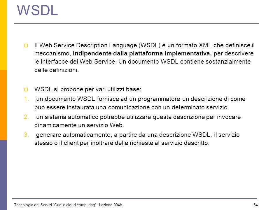 Tecnologia dei Servizi Grid e cloud computing - Lezione 004b 83 References Web Services Architecture (http://www.w3.org/TR/ws-arch/)http://www.w3.org/