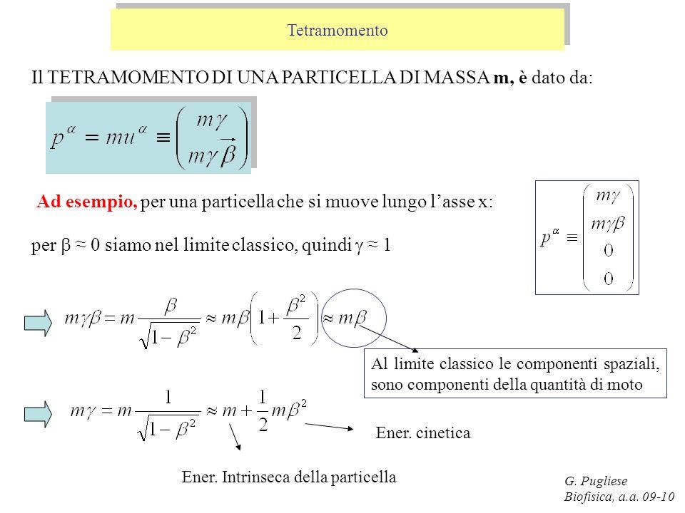 G. Pugliese Biofisica, a.a. 09-10 Tetramomento Il TETRAMOMENTO DI UNA PARTICELLA DI MASSA m, è dato da: Ad esempio, per una particella che si muove lu