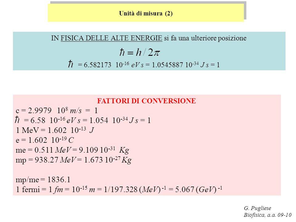 G. Pugliese Biofisica, a.a. 09-10 IN FISICA DELLE ALTE ENERGIE si fa una ulteriore posizione = 6.582173 10 -16 eV s = 1.0545887 10 -34 J s = 1 Unità d