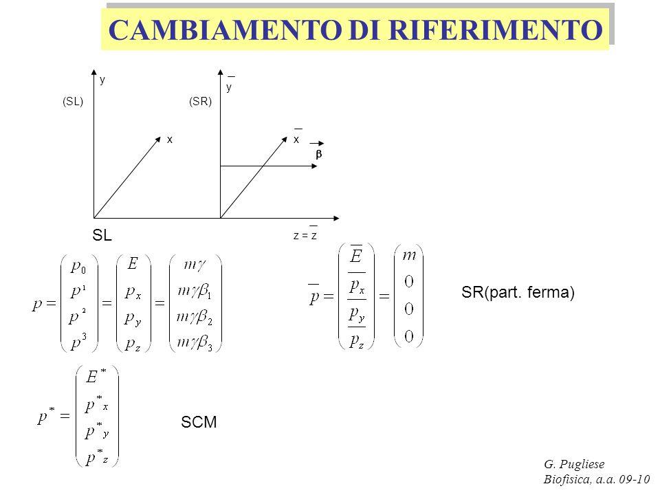 G. Pugliese Biofisica, a.a. 09-10 CAMBIAMENTO DI RIFERIMENTO (SL)(SR) y x y x z = z SL SR(part. ferma) SCM