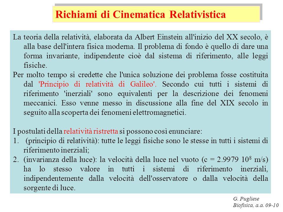 G. Pugliese Biofisica, a.a. 09-10 La teoria della relatività, elaborata da Albert Einstein all'inizio del XX secolo, è alla base dell'intera fisica mo