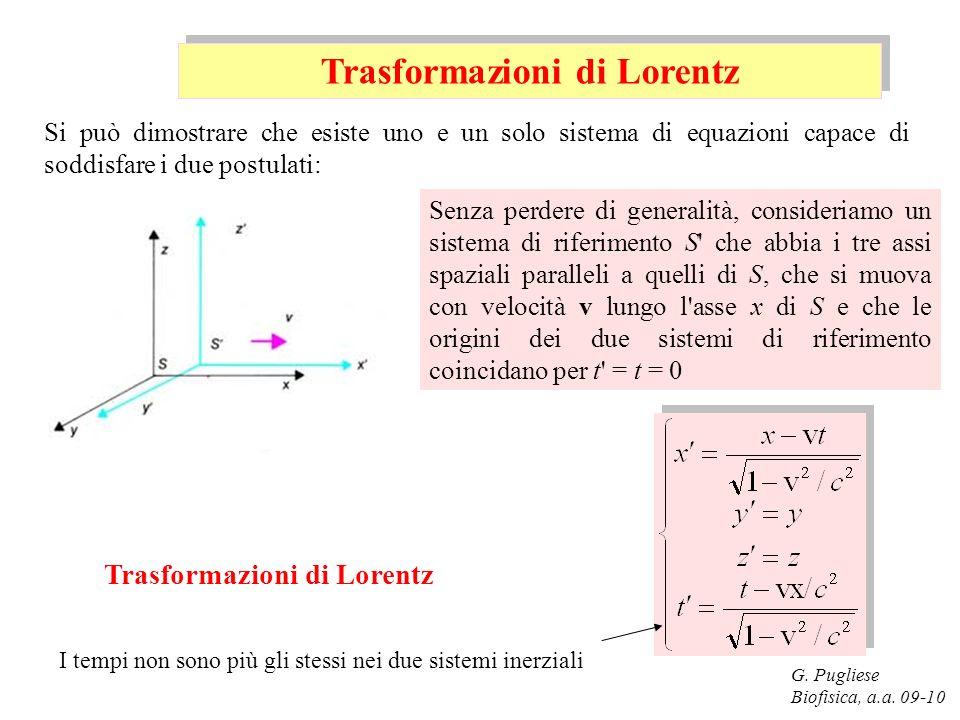 G. Pugliese Biofisica, a.a. 09-10 Senza perdere di generalità, consideriamo un sistema di riferimento S' che abbia i tre assi spaziali paralleli a que