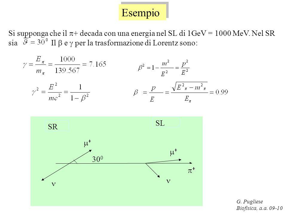 G. Pugliese Biofisica, a.a. 09-10 Esempio Si supponga che il + decada con una energia nel SL di 1GeV = 1000 MeV. Nel SR sia Il e per la trasformazione