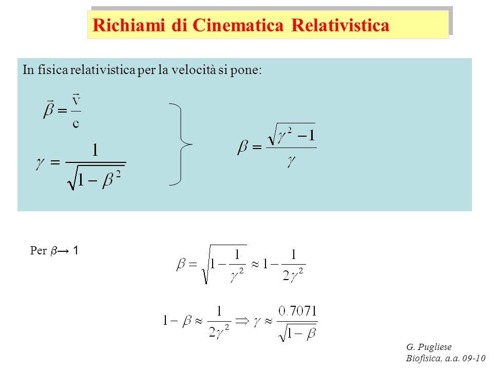 G. Pugliese Biofisica, a.a. 09-10 In fisica relativistica per la velocità si pone: Richiami di Cinematica Relativistica Per 1