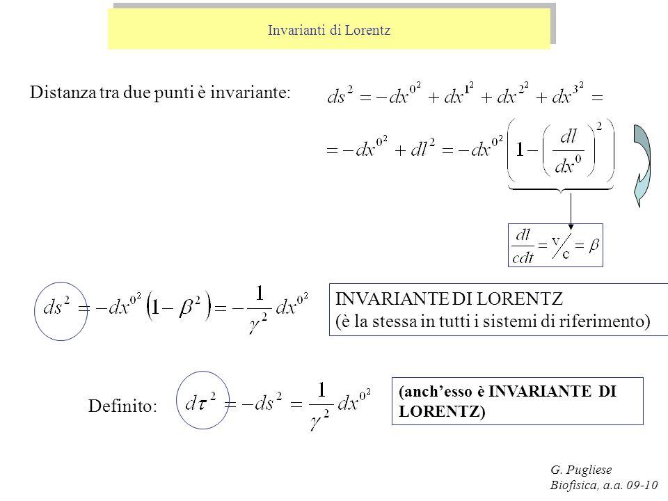 G. Pugliese Biofisica, a.a. 09-10 Invarianti di Lorentz Distanza tra due punti è invariante: INVARIANTE DI LORENTZ (è la stessa in tutti i sistemi di