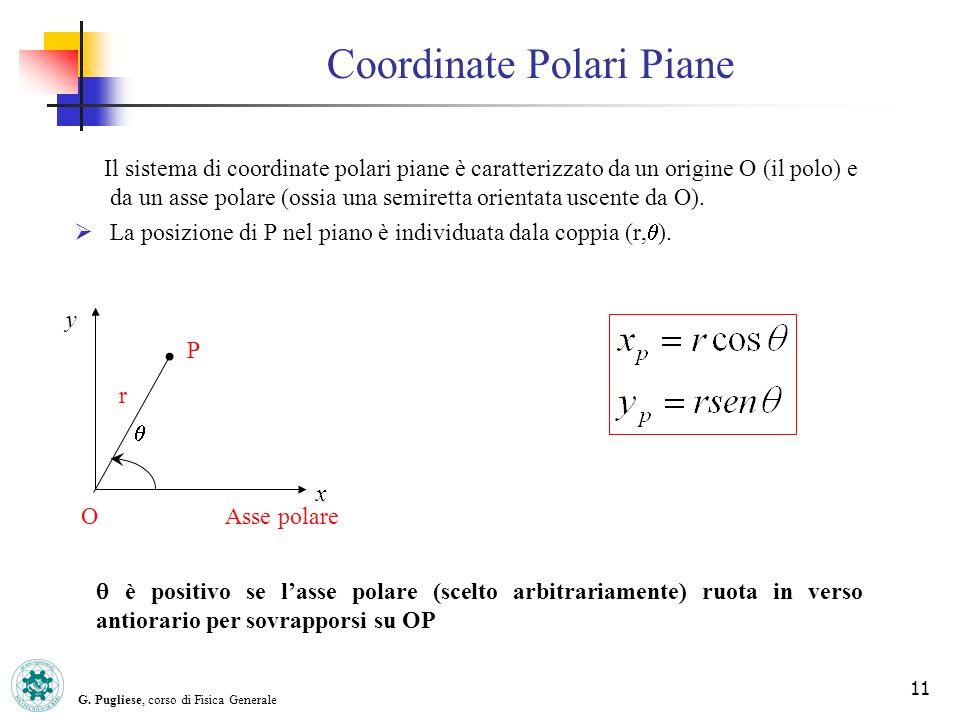 G. Pugliese, corso di Fisica Generale 11 Coordinate Polari Piane Il sistema di coordinate polari piane è caratterizzato da un origine O (il polo) e da