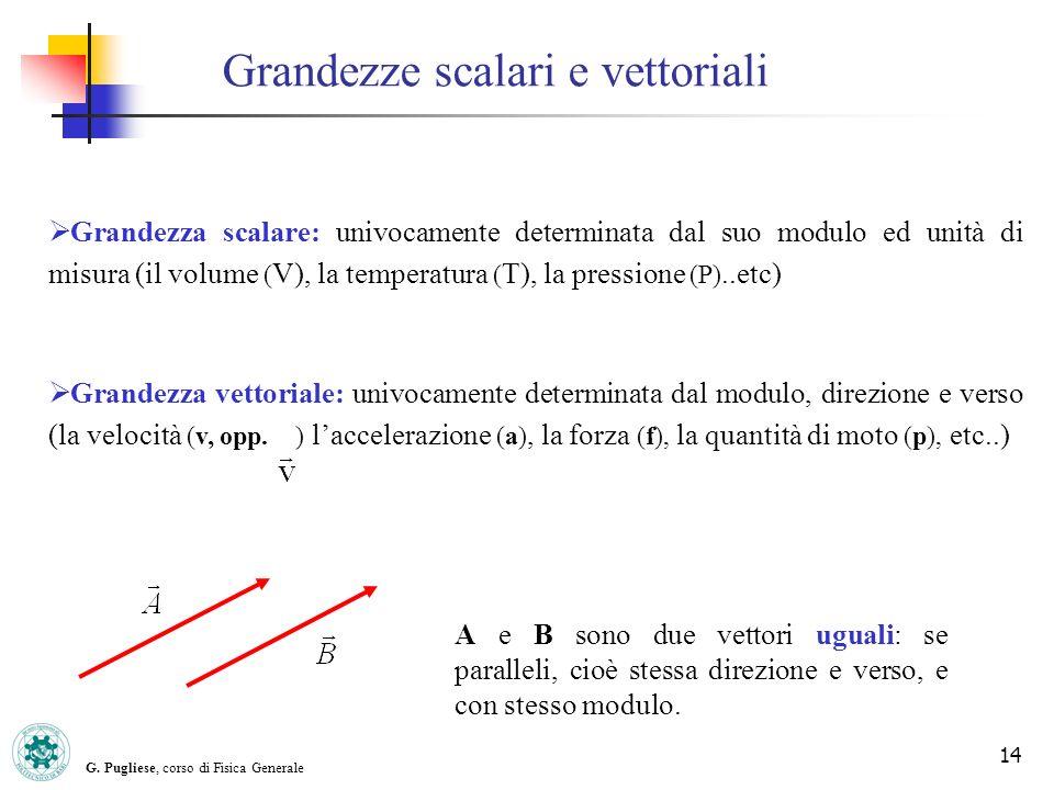 G. Pugliese, corso di Fisica Generale 14 Grandezze scalari e vettoriali Grandezza scalare: univocamente determinata dal suo modulo ed unità di misura