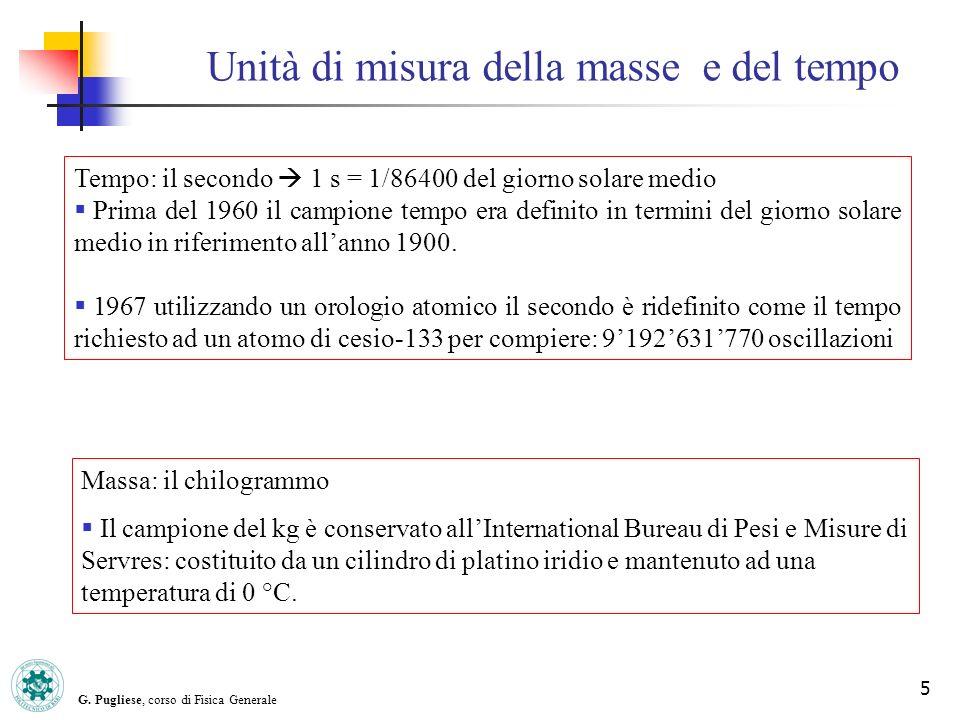G. Pugliese, corso di Fisica Generale 5 Unità di misura della masse e del tempo Tempo: il secondo 1 s = 1/86400 del giorno solare medio Prima del 1960