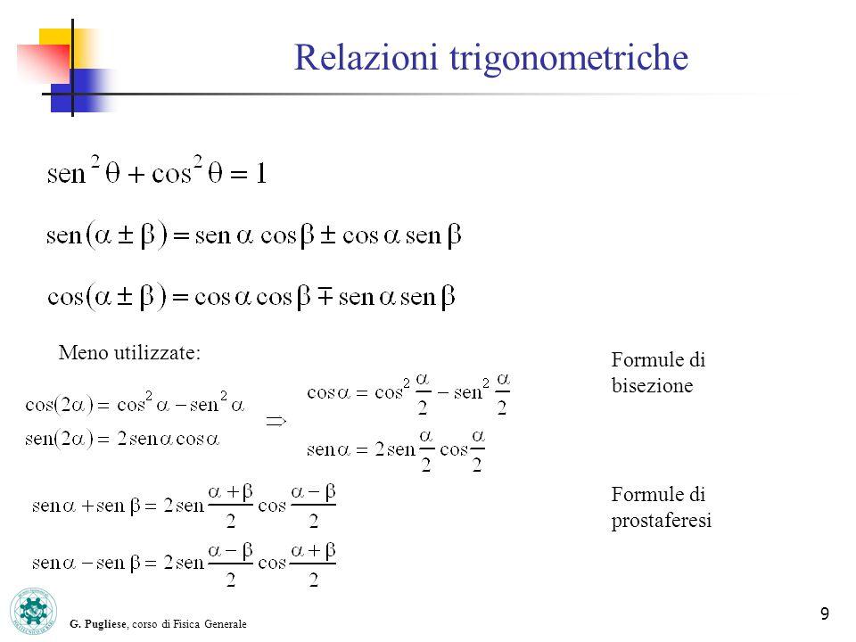 G. Pugliese, corso di Fisica Generale 9 Relazioni trigonometriche Meno utilizzate: Formule di bisezione Formule di prostaferesi