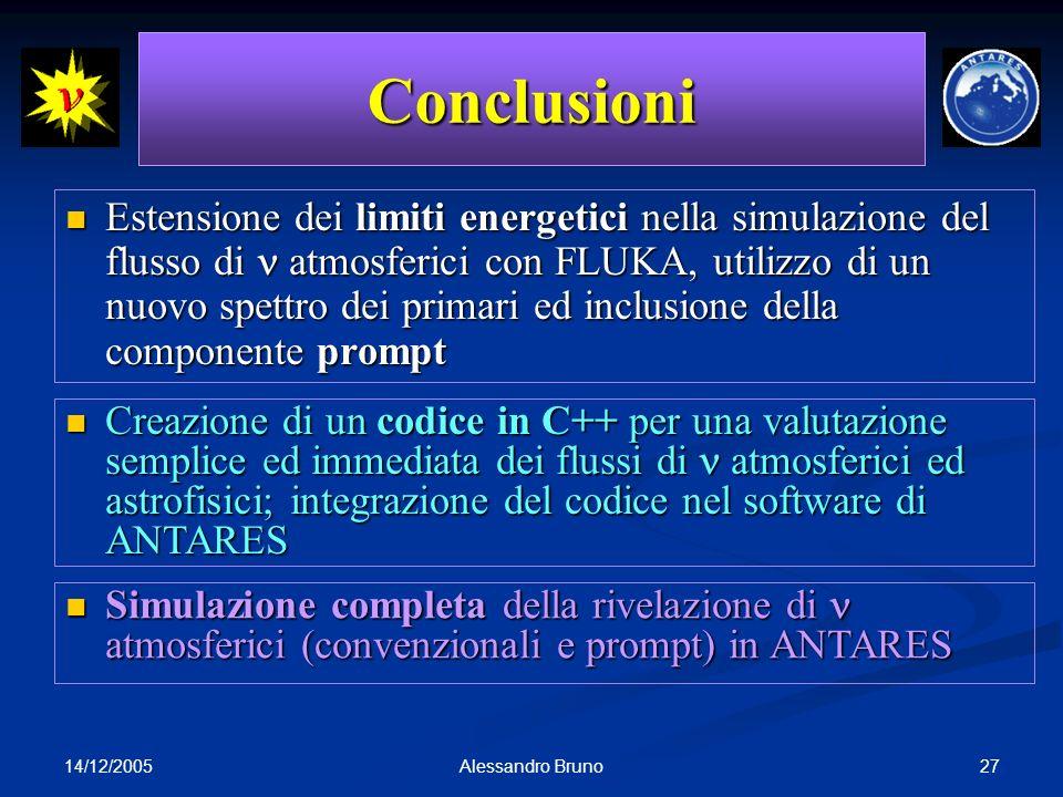 14/12/2005 27Alessandro Bruno Conclusioni Estensione dei limiti energetici nella simulazione del flusso di atmosferici con FLUKA, utilizzo di un nuovo spettro dei primari ed inclusione della componente prompt Estensione dei limiti energetici nella simulazione del flusso di atmosferici con FLUKA, utilizzo di un nuovo spettro dei primari ed inclusione della componente prompt Creazione di un codice in C++ per una valutazione semplice ed immediata dei flussi di atmosferici ed astrofisici; integrazione del codice nel software di ANTARES Creazione di un codice in C++ per una valutazione semplice ed immediata dei flussi di atmosferici ed astrofisici; integrazione del codice nel software di ANTARES Simulazione completa della rivelazione di atmosferici (convenzionali e prompt) in ANTARES Simulazione completa della rivelazione di atmosferici (convenzionali e prompt) in ANTARES