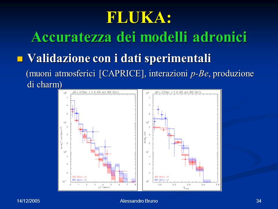 14/12/2005 34Alessandro Bruno FLUKA: Accuratezza dei modelli adronici Validazione con i dati sperimentali Validazione con i dati sperimentali (muoni atmosferici [CAPRICE], interazioni p-Be, produzione di charm) (muoni atmosferici [CAPRICE], interazioni p-Be, produzione di charm)