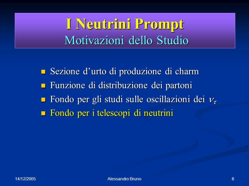 14/12/2005 6Alessandro Bruno I Neutrini Prompt Motivazioni dello Studio Sezione durto di produzione di charm Sezione durto di produzione di charm Funz
