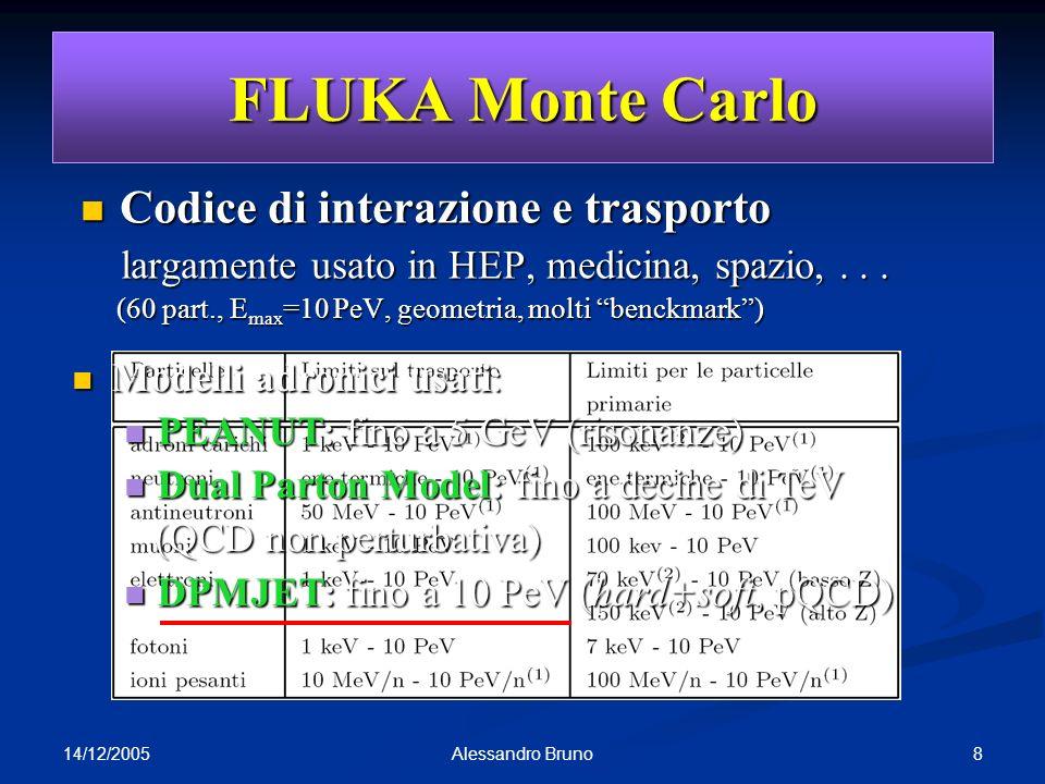 14/12/2005 8Alessandro Bruno FLUKA Monte Carlo Codice di interazione e trasporto Codice di interazione e trasporto largamente usato in HEP, medicina,