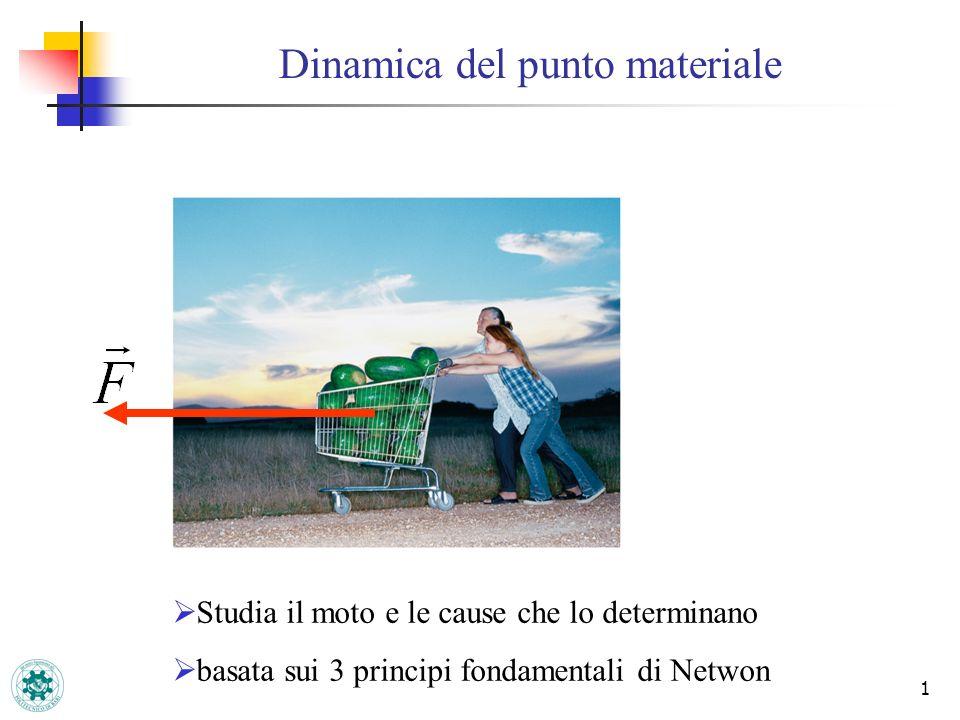 1 Dinamica del punto materiale Studia il moto e le cause che lo determinano basata sui 3 principi fondamentali di Netwon