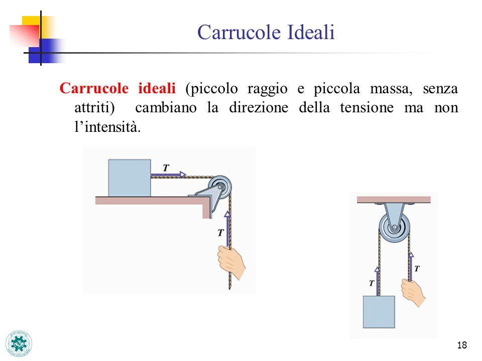 Carrucole Ideali 18 Carrucole ideali (piccolo raggio e piccola massa, senza attriti) cambiano la direzione della tensione ma non lintensità.