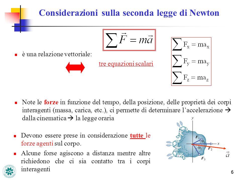 6 Considerazioni sulla seconda legge di Newton è una relazione vettoriale: tre equazioni scalari Note le forze in funzione del tempo, della posizione,
