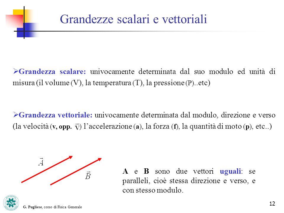 G. Pugliese, corso di Fisica Generale 12 Grandezze scalari e vettoriali Grandezza scalare: univocamente determinata dal suo modulo ed unità di misura