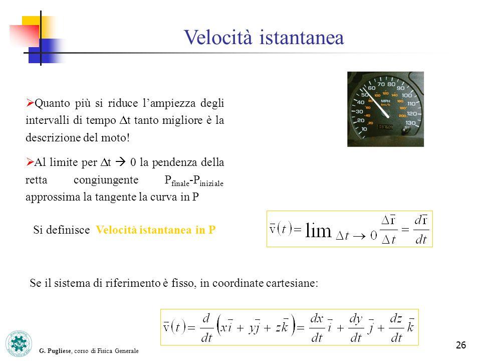 G. Pugliese, corso di Fisica Generale 26 Velocità istantanea Quanto più si riduce lampiezza degli intervalli di tempo t tanto migliore è la descrizion