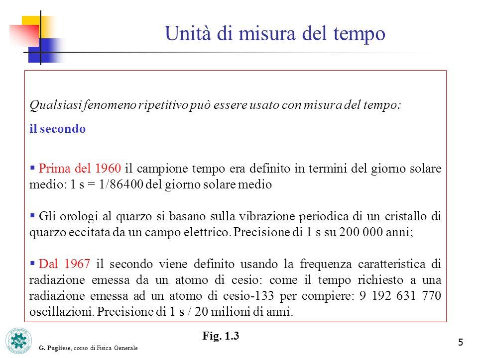 G. Pugliese, corso di Fisica Generale 5 Unità di misura del tempo Qualsiasi fenomeno ripetitivo può essere usato con misura del tempo: il secondo Prim