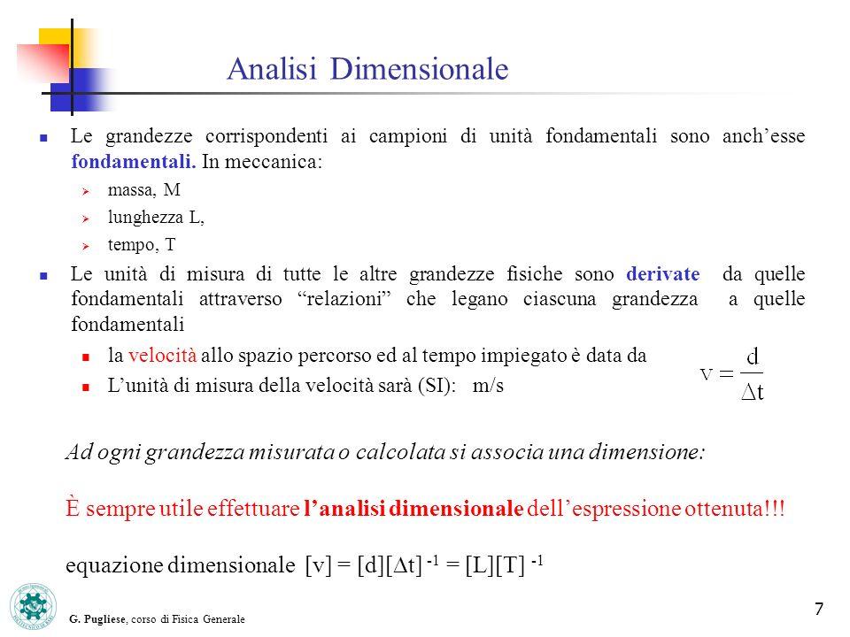 G. Pugliese, corso di Fisica Generale 7 Le grandezze corrispondenti ai campioni di unità fondamentali sono anchesse fondamentali. In meccanica: massa,