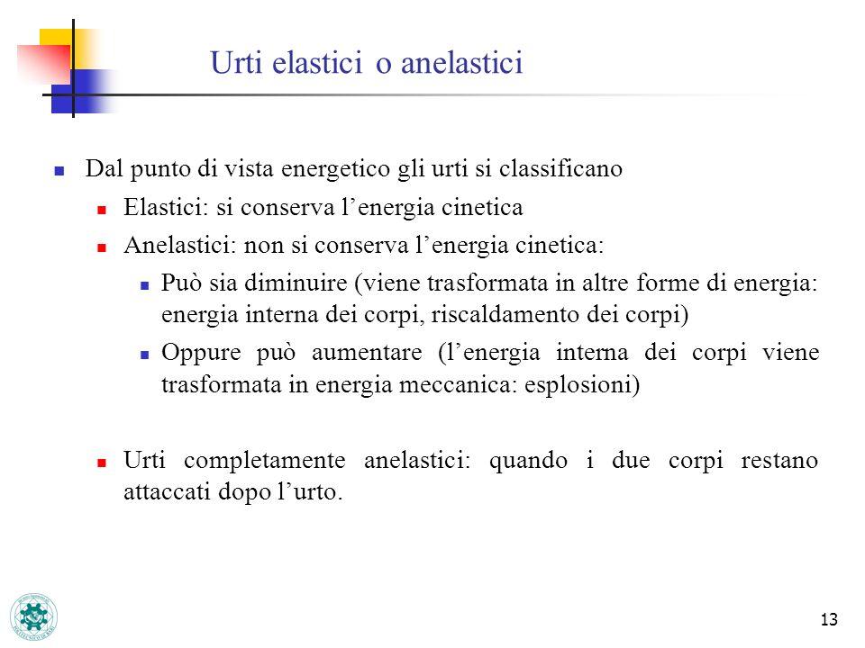 13 Urti elastici o anelastici Dal punto di vista energetico gli urti si classificano Elastici: si conserva lenergia cinetica Anelastici: non si conser