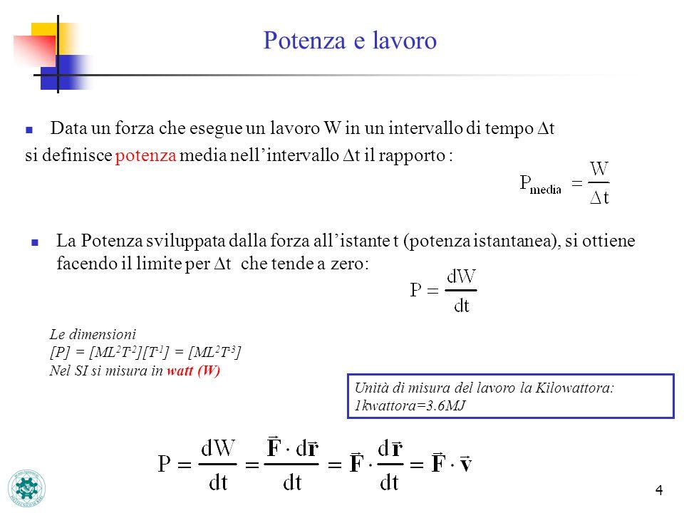 4 Data un forza che esegue un lavoro W in un intervallo di tempo t si definisce potenza media nellintervallo t il rapporto : La Potenza sviluppata dal