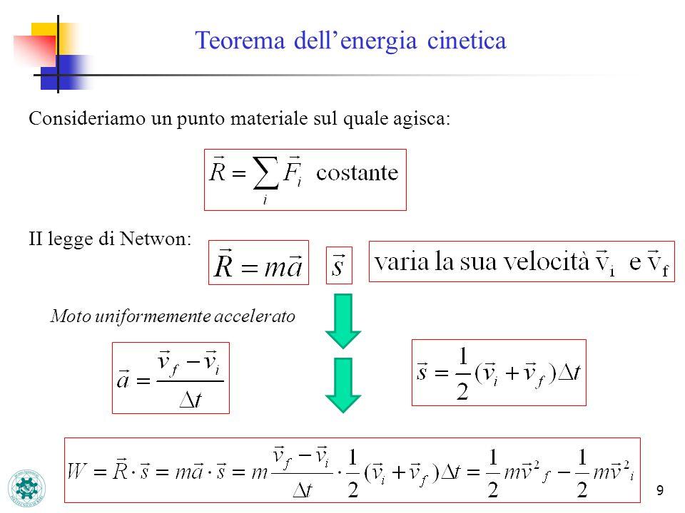 Teorema dellenergia cinetica 9 Consideriamo un punto materiale sul quale agisca: II legge di Netwon: Moto uniformemente accelerato