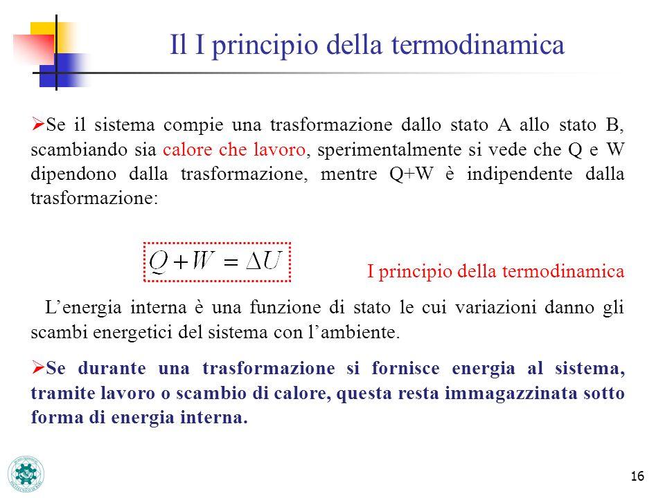 16 Il I principio della termodinamica Se il sistema compie una trasformazione dallo stato A allo stato B, scambiando sia calore che lavoro, sperimenta