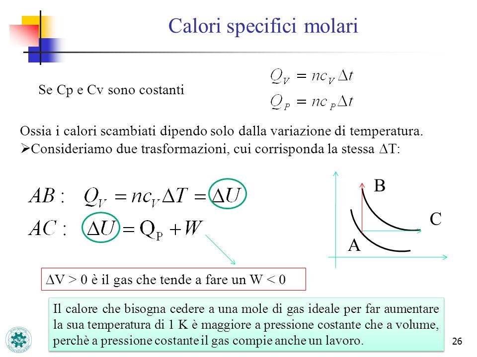 26 Calori specifici molari Se Cp e Cv sono costanti Ossia i calori scambiati dipendo solo dalla variazione di temperatura. Consideriamo due trasformaz