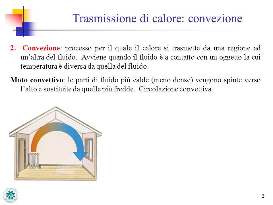 3 2. Convezione: processo per il quale il calore si trasmette da una regione ad unaltra del fluido. Avviene quando il fluido è a contatto con un ogget