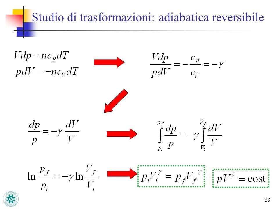 33 Studio di trasformazioni: adiabatica reversibile