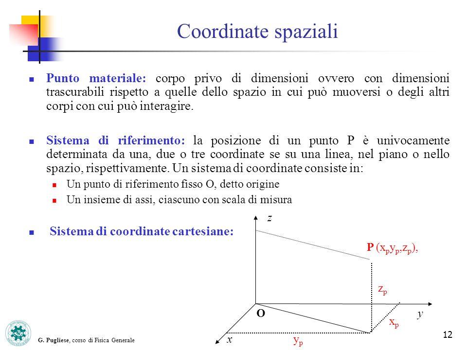 G. Pugliese, corso di Fisica Generale 12 Coordinate spaziali Punto materiale: corpo privo di dimensioni ovvero con dimensioni trascurabili rispetto a