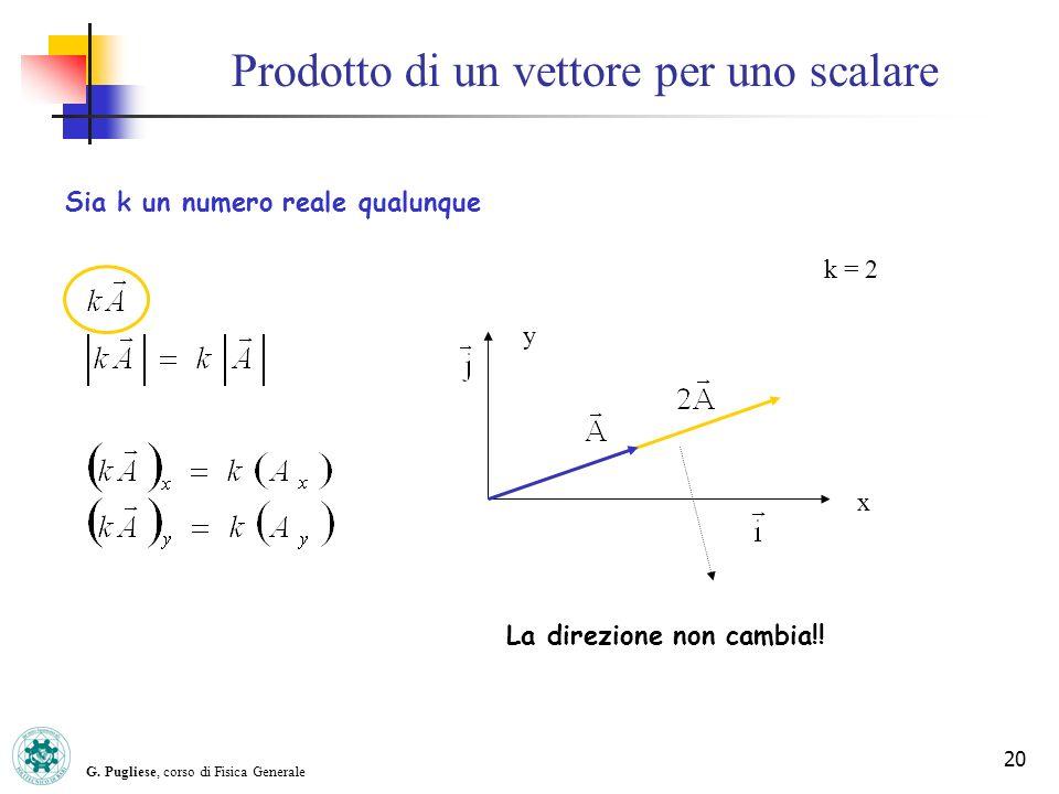G. Pugliese, corso di Fisica Generale 20 Prodotto di un vettore per uno scalare y x k = 2 Sia k un numero reale qualunque La direzione non cambia!!