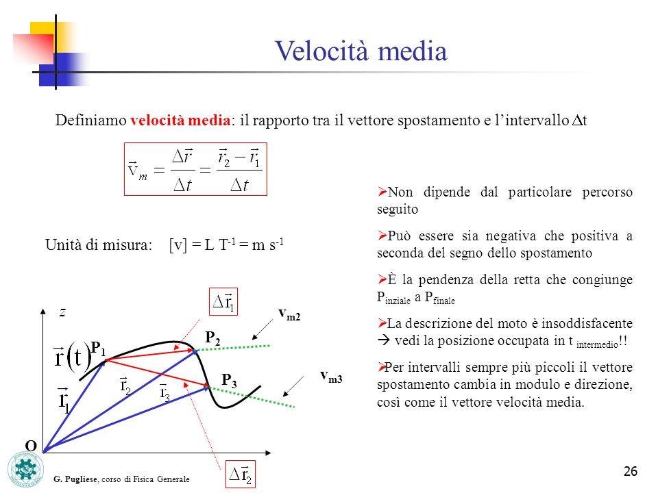 G. Pugliese, corso di Fisica Generale 26 Velocità media Definiamo velocità media: il rapporto tra il vettore spostamento e lintervallo t Unità di misu
