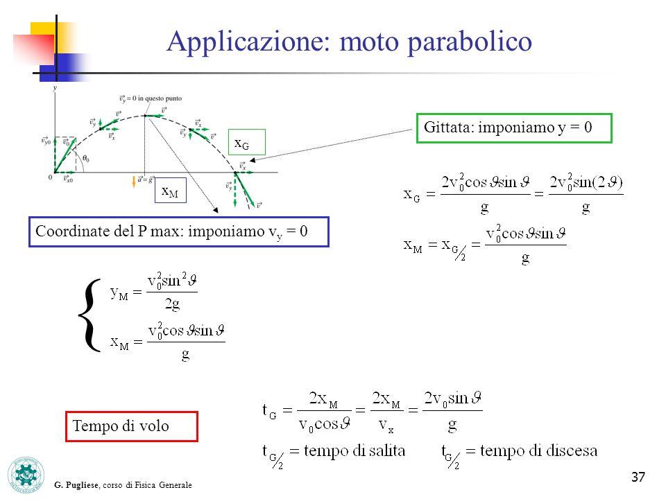 G. Pugliese, corso di Fisica Generale 37 Applicazione: moto parabolico Gittata: imponiamo y = 0 xMxM Coordinate del P max: imponiamo v y = 0 { Tempo d