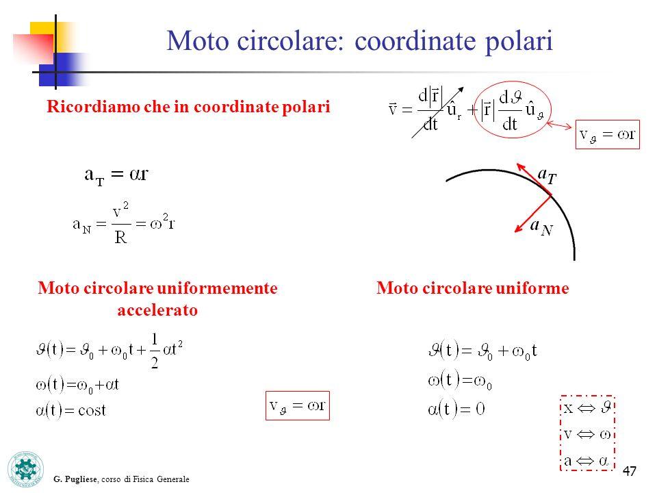 G. Pugliese, corso di Fisica Generale 47 Moto circolare: coordinate polari Moto circolare uniformemente accelerato Moto circolare uniforme Ricordiamo